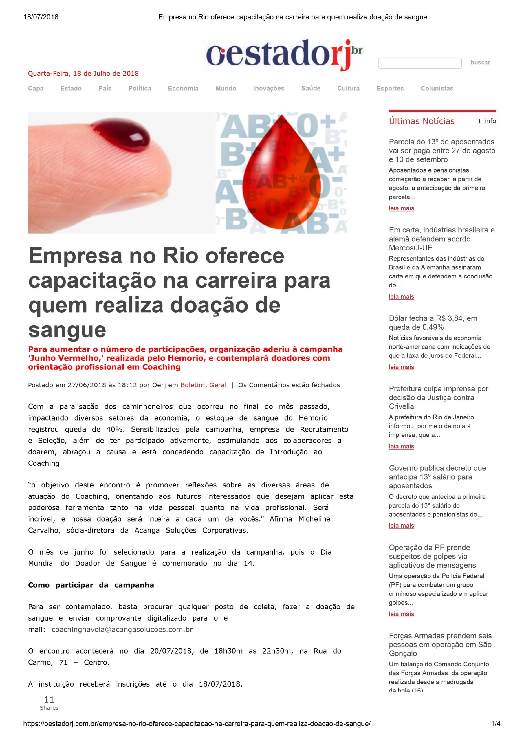 Doação de sangue hemorio coaching